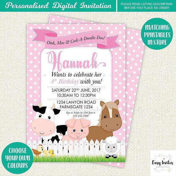 Invitación de cumpleaños cumpleaños granja Farm Party
