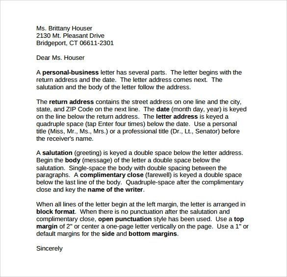 Personal Business Letter Format Awesome Sample Personal Business Letter 9 Documents In Business Letter Format Business Letter Example Business Letter Template