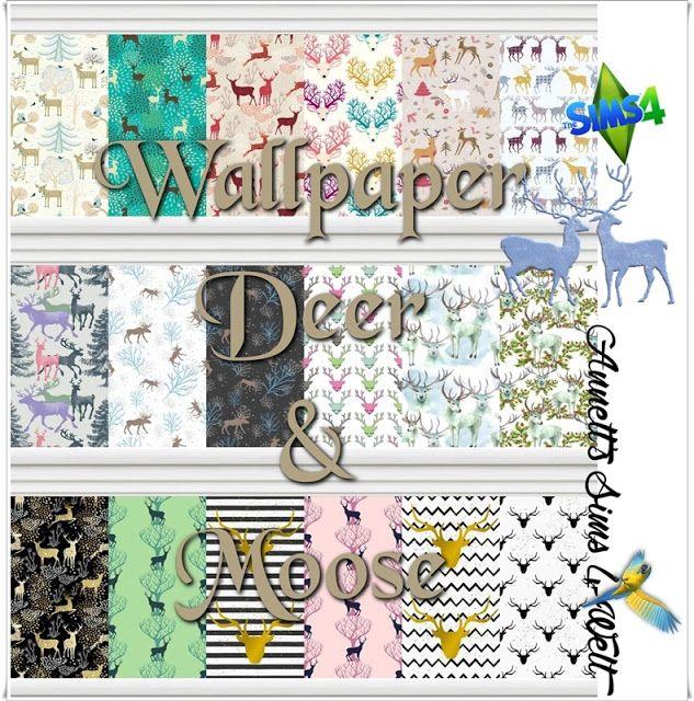 Deer & Moose Wallpaper At Annett's Sims 4 Welt