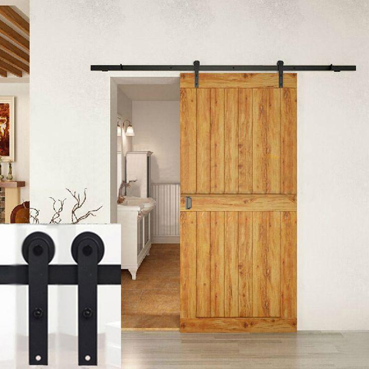 5 FT (1.50メートル)室内ドアレール 片開き戸両引戸ドア 玄関ドア ダイニングリビング キッチンカウンター寝室ドア 木製門吊り軌道金属部品 北欧ホーロー 引戸金物 室内引戸