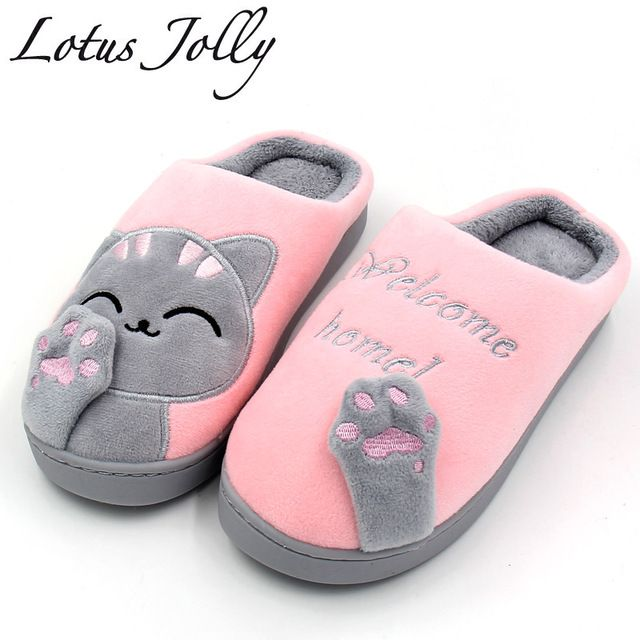 Sale Today $8.66, Buy Women Winter Home Slippers Cartoon Cat Home Shoes Non-slip Soft Winter Warm Slippers Indoor Bedroom Loves Couple Floor Shoes