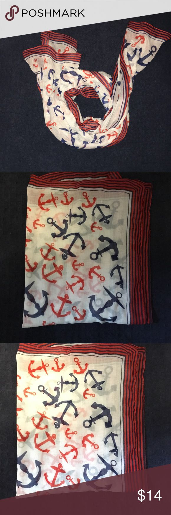 🍁Anchor scarf And anchor scarf with red and blue anchors! Accessories Scarves & Wraps