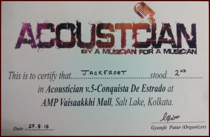 Runners-up certificate for Acoustician V.5 Band Competition