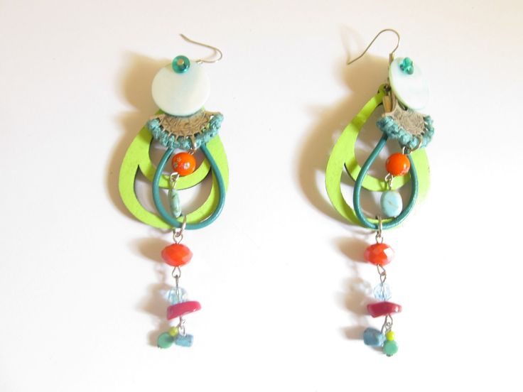 Handmade laser cut leather earrings (1 pair)  Made with light green leather filigree, silver tone metal part with fiber, coral, turquoise and glass beads.