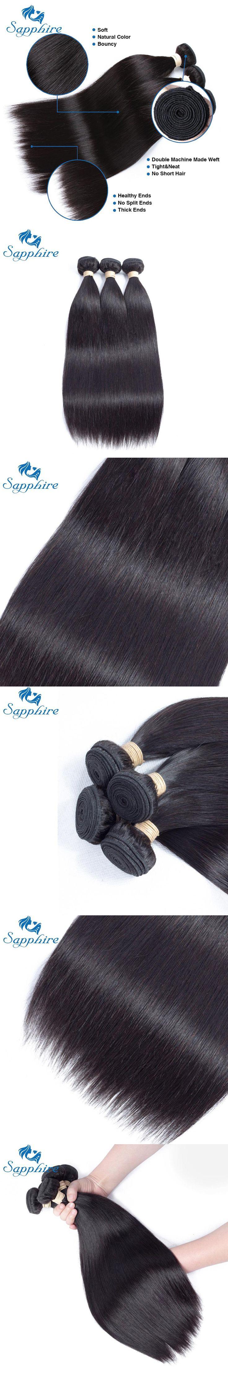 Sapphire Remy Hair Human Hair 3 Bundles Brazilian Straight Hair Weave 2Pieces Natural Color Brazilian Hair Weaving Free Shipping