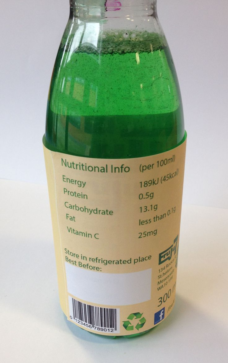 Label on bottle Nutritional Info