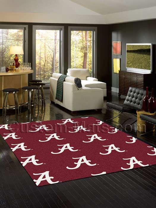 Alabama Letter Home Repeat Rug | Custom-Mats.com