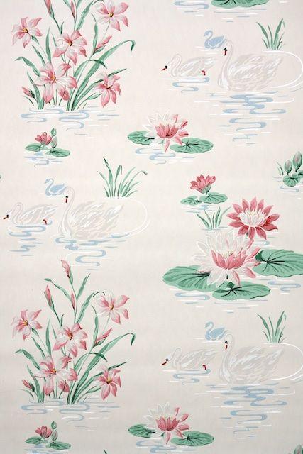 vintage bathroom wallpaper from the 1940s | Vintage ...