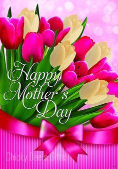 Custom Décor Garden Flag TULIPS FOR MOM flowers Mother's Day