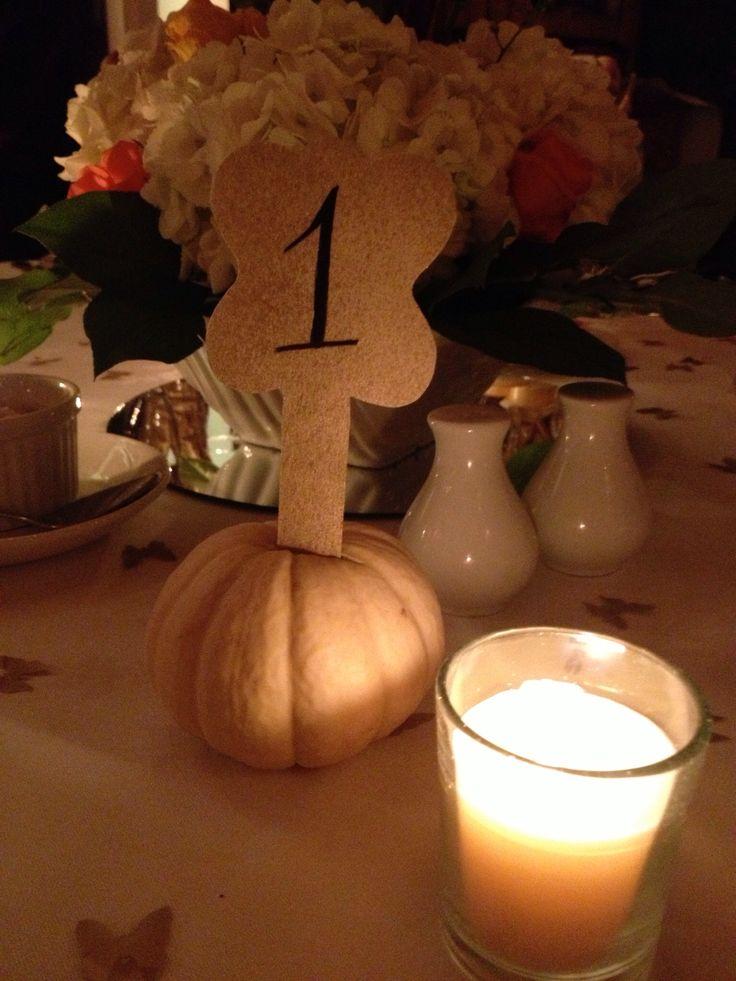 Pumpkin table decoration! #fallweddings #pumpkin #decorations