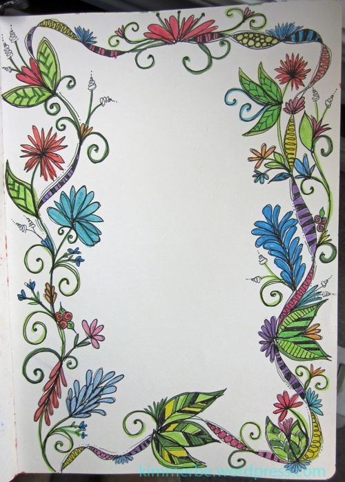 Doodle border - taking Joanne Sharpe's doodling class, and having a ball!