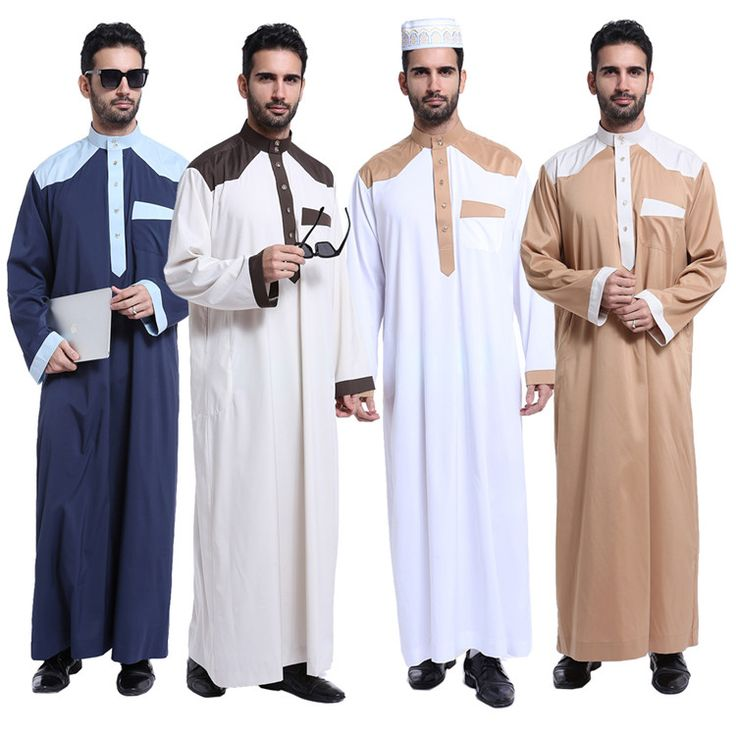 Mans Boy Saudi Cotton Thobe Robe Islamic Muslim Jubba Arabic Kaftan Abaya Dress For Men