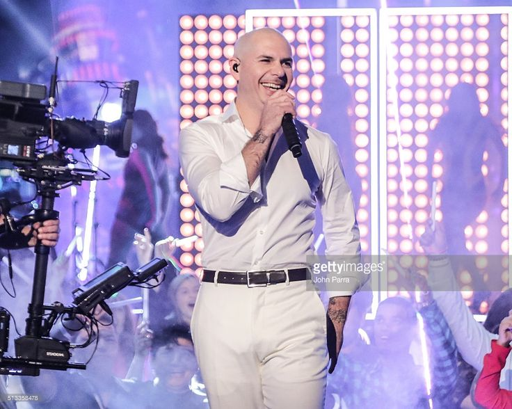 Pitbull Performs On Univisions 'Nuestra Belleza Latina' at Univision Studios on February 23, 2016 in Miami, Florida.