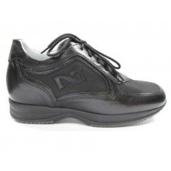 Sneaker pelle/tela nera NERO GIARDINI