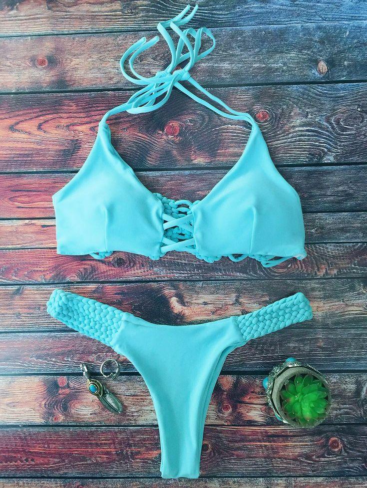 $16.49 Cami Braided High Leg Bikini Set LAKE GREEN: Bikinis | ZAFUL