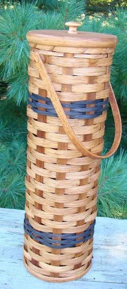 Unique Collectible Amish Handmade Country Toilet Paper Tissue Holder Basket with wood lid and wooden handle