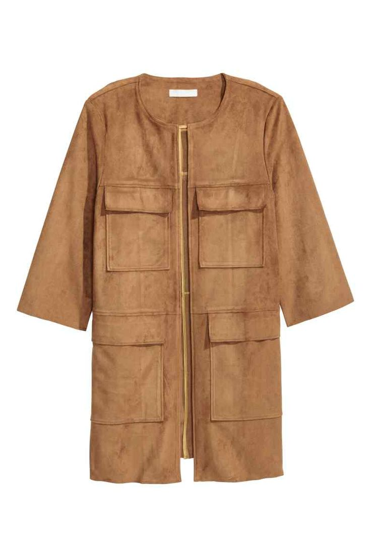 Imitation suede coat: Imitation suede coat with 3/4-length sleeves, chest pockets, patch front pockets with a flap and raw edges at the cuffs and hem. No buttons. Unlined.