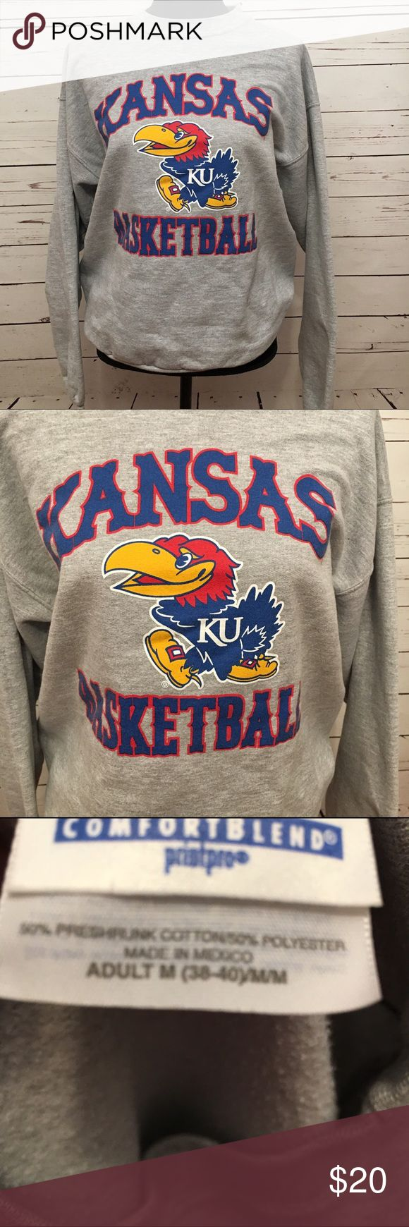 Kansas university basketball sweatshirt medium Kansas university medium basketball sweatshirt in good used condition. Super soft. 22 arm to arm and 26 shoulder to hem. basketball Tops Sweatshirts & Hoodies