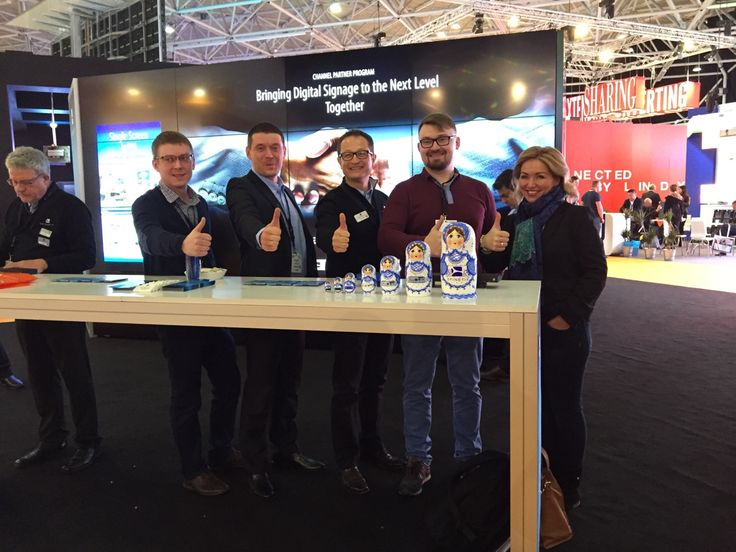#spinetix Grigory Chechulin (Teko-service), Nikita Sarbashev (SpinetiX), Francesco Ziliani (SpinetiX), Michail Kaznacheev (Teko-service), Elena Vladimirskaya at #Integratedsystemseurope