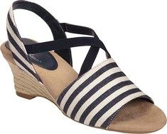 Women's+A2+by+Aerosoles+Boyzenberry+Sandal+-+Black+Stripe+Canvas+with+FREE+Shipping+&+Exchanges.+Get+ready+to+set+sail.+Nautical+stripes+beautify+the+canvas+upper+and+strap