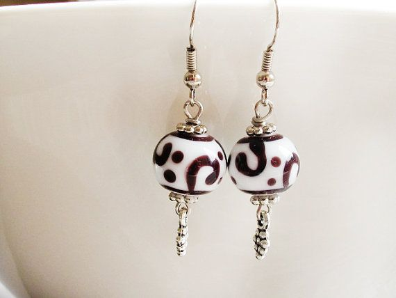 Black White Lampwork Earrings Glass Bead by GlassHouseLampwork