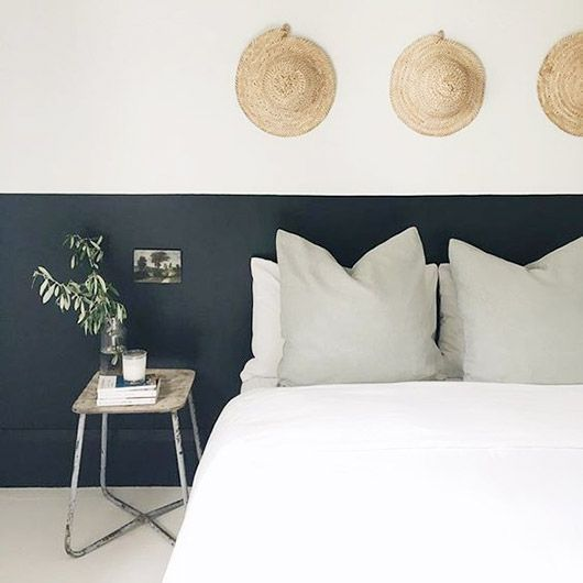 Bedroom design / hat / blue and white / bed / natural