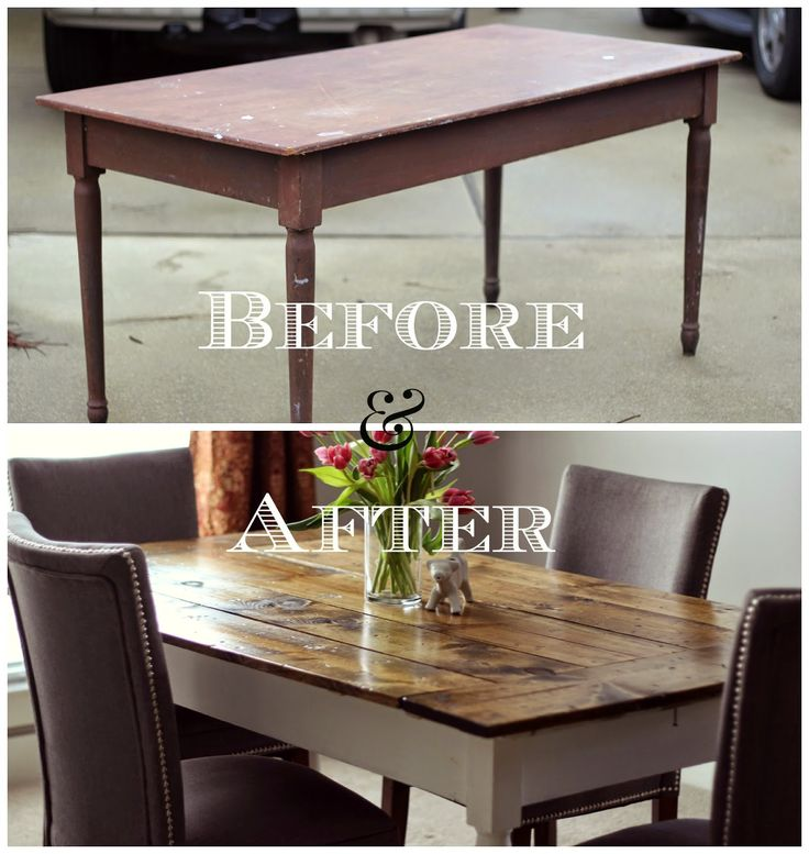 DIY Farmtable Tutorial. Easy Farm Table Hack! Build a farmhouse table top directly onto a salvaged table.
