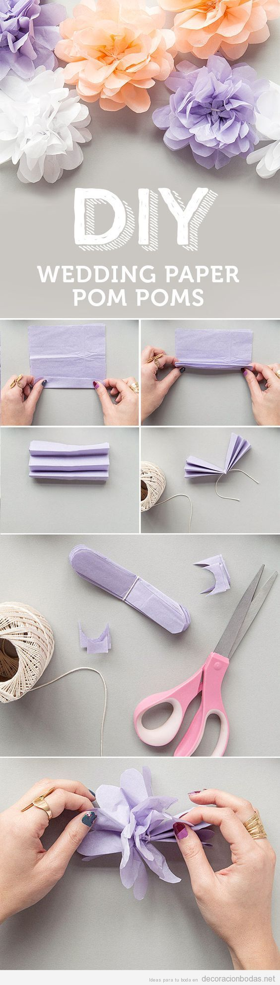 Tutorial pompones de papel DIY para decorar boda