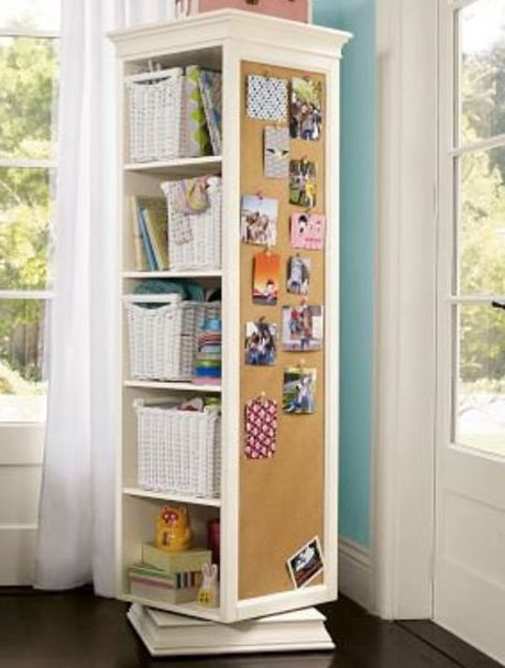 PB Teen Rotating Shelves..perfect use of limited space for organization