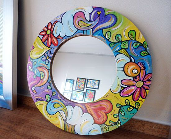 A mirror to brighten up even the worst hair day! I decided to take a step away from painting on canvas and paper to paint on objects I can surround myself with… and enjoy using everyday. The colours are truly vibrant with lots of gold highlights and the design is just fun and cheerful – …