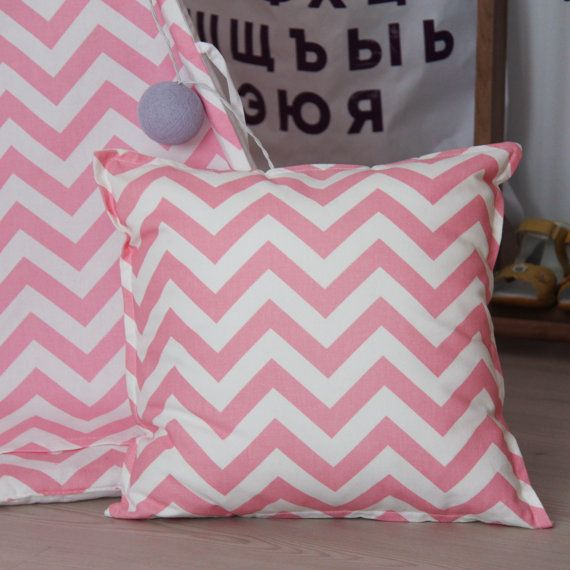 Pink Zigzag Pillow with Cotton Cover 40x40 cm от vamvigvam на Etsy