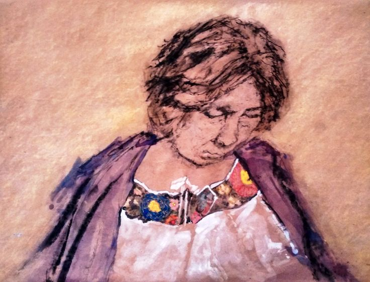 Mujer Yucatán, 2012, aguada y carboncillo