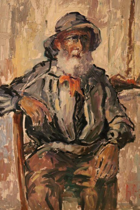 """Guy Carton (1929-2012) - Portret van een oude zeeman  Guy Carton was een Belgische schilder uit Ciney in Wallonië en maakte in zijn leven veel portretten landschappen en naakten. Beïnvloed door de impressionisten ontwikkelde hij een eigen soms wat flamboyante levendige stijl waarbij hij gemengde technieken (olie  potlood) niet schuwde. Carton was één van de stichters van de """"Peintres du Condroz"""" op wiens jaarlijkse tentoonstelling hij nog vaak de centrale figuur blijft. Dit fraaie portret…"""