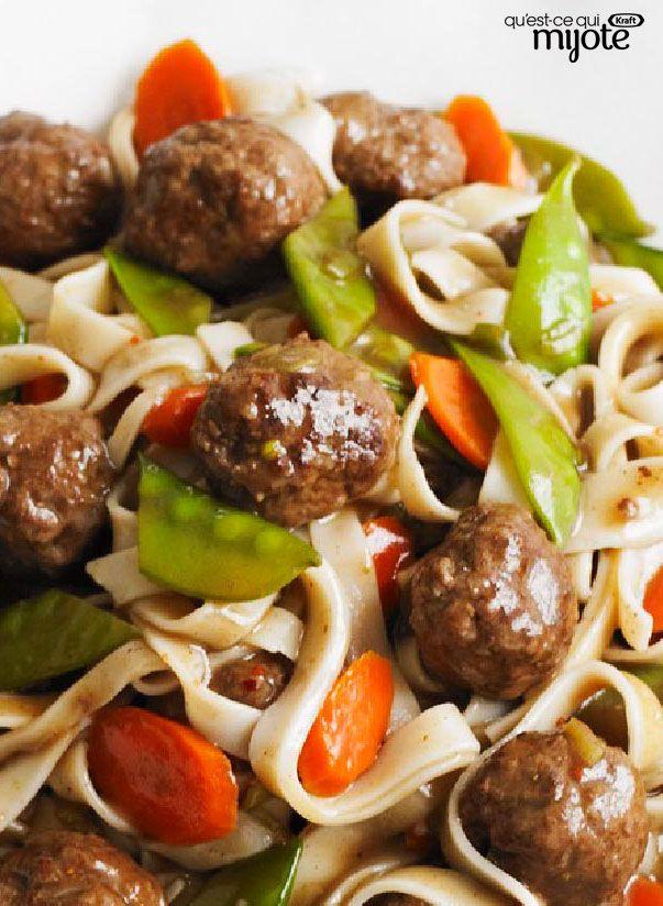 Spaghetti asiatique aux boulettes de viande #recette