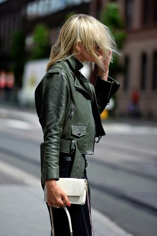 Green leather.
