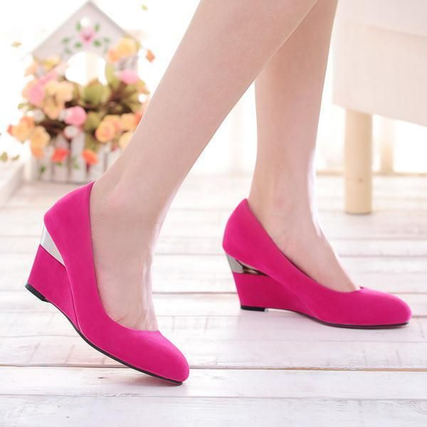 Kode : AWF-367, Nama : Simple Plain Pink Wedges Shoes Kombi Silver, Price : IDR 175