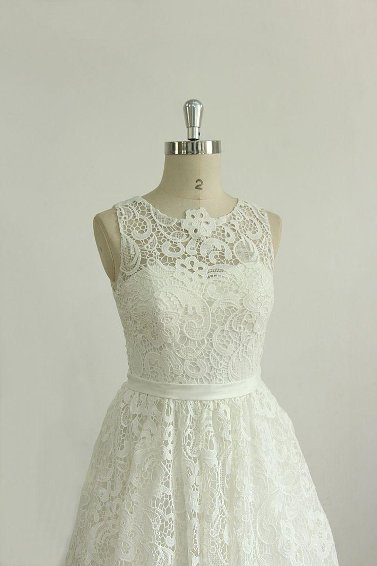 Stunning Ivory vintage tea length a line lace wedding dress