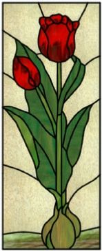 tulip bulbs art glass panel