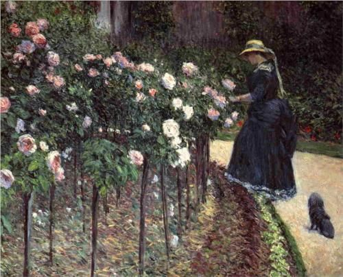GUSTAVE CAILLEBOTTE  1848 - 1894 Roses in the garden at Petit Gennevilliers.