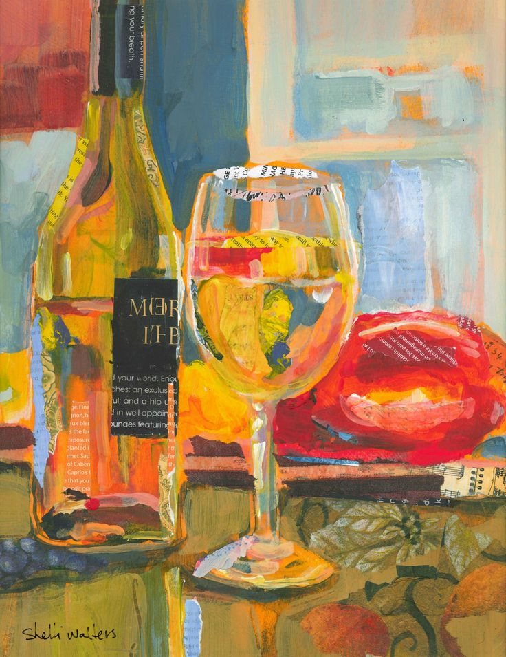 Wine bottle wine glass original painting via for Paint vino