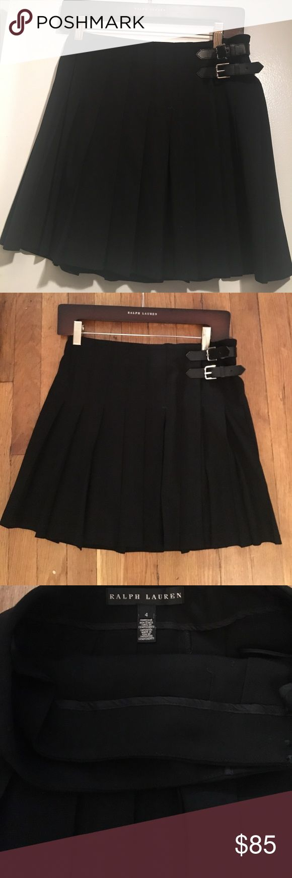 Ralph Lauren Black Label Pleated Skirt Sz4 Ralph Lauren Black Label Pleated Skirt! Perfect for fall with chunky sweaters and tights! Leather side tabs and button closure inside. Hardly worn. Size 4! Ralph Lauren Skirts Mini