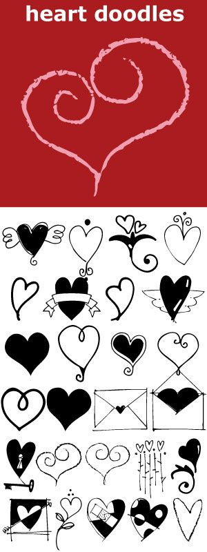 "Whimsical hearts and swirls, some solid, some line but lots of little graphics for your Valentine needs. Many ways to say ""I Love You""."