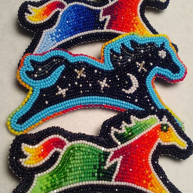 Spirit horses.. #beadedhorses #nativeamericanbeadwork #spiritponies #beadwork