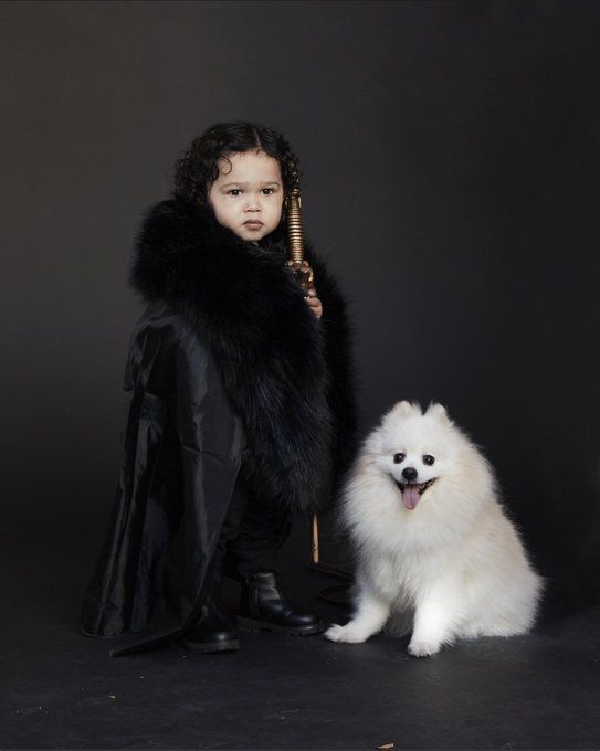 Baby Jon snow and wolf ghost costume game of thrones