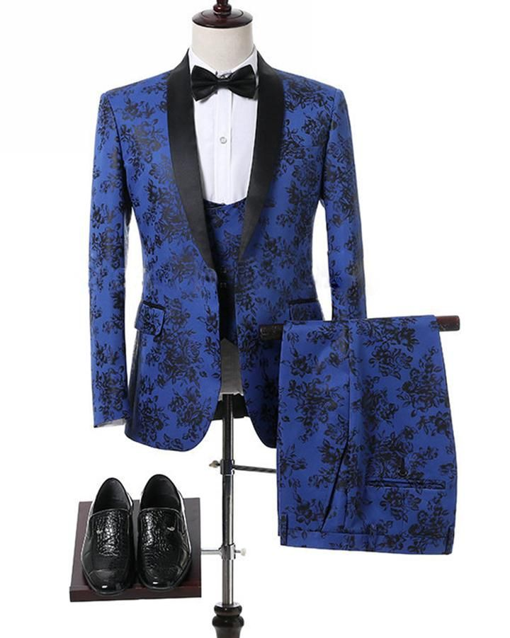 8938424a241 Classic Royal Blue Flower Wedding Suits For Men jacquard Blazer Groom Suit  Tuxedos Prom Party Suits