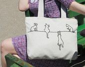 Items similar to Alley cats tote / shoulder bag / minimalist line drawing / embroidery modern / reusable bags handmade on Etsy