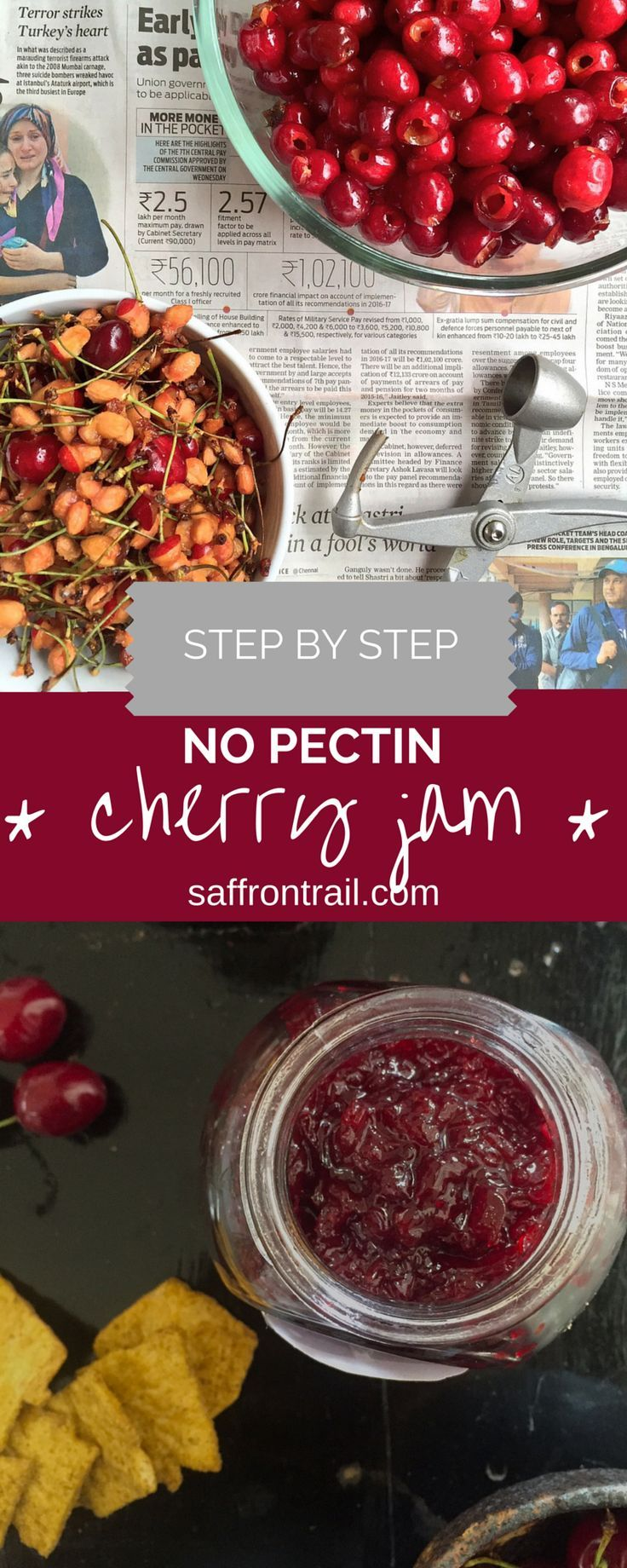 A easy recipe for no-pectin cherry jam that you can make to preserve the seasonal fresh cherries in a bottle and relish them over a few weeks. Do give this a try when the cherries are in season.