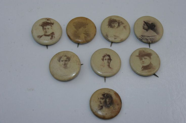 ANTIQUE COLLECTION OF 8 SWEET CAPORAL CIGARETTES ACTRESS ADV. BUTTONS PINS 1896