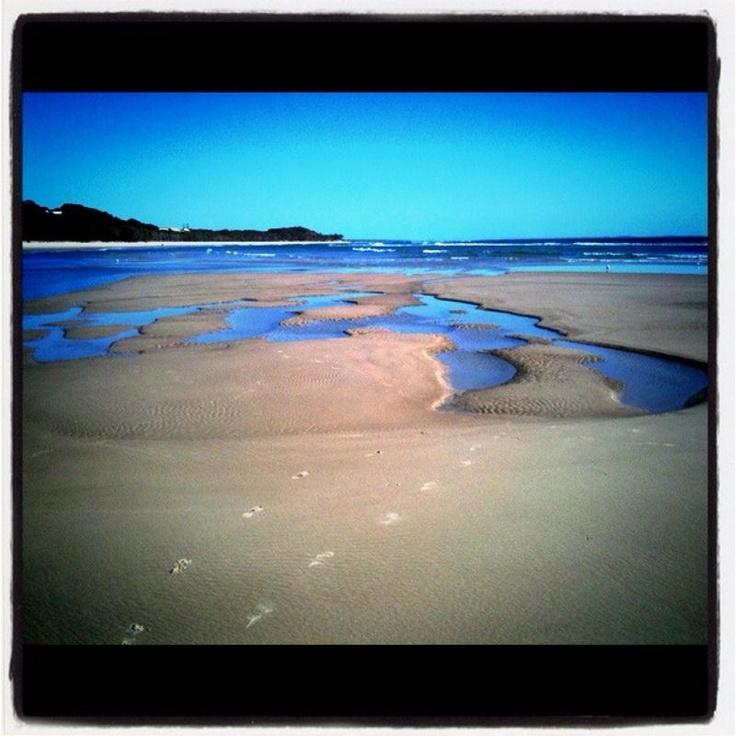 Home Beach, Stradbroke Island, July 2011.  Early morning footprints.  Mine.