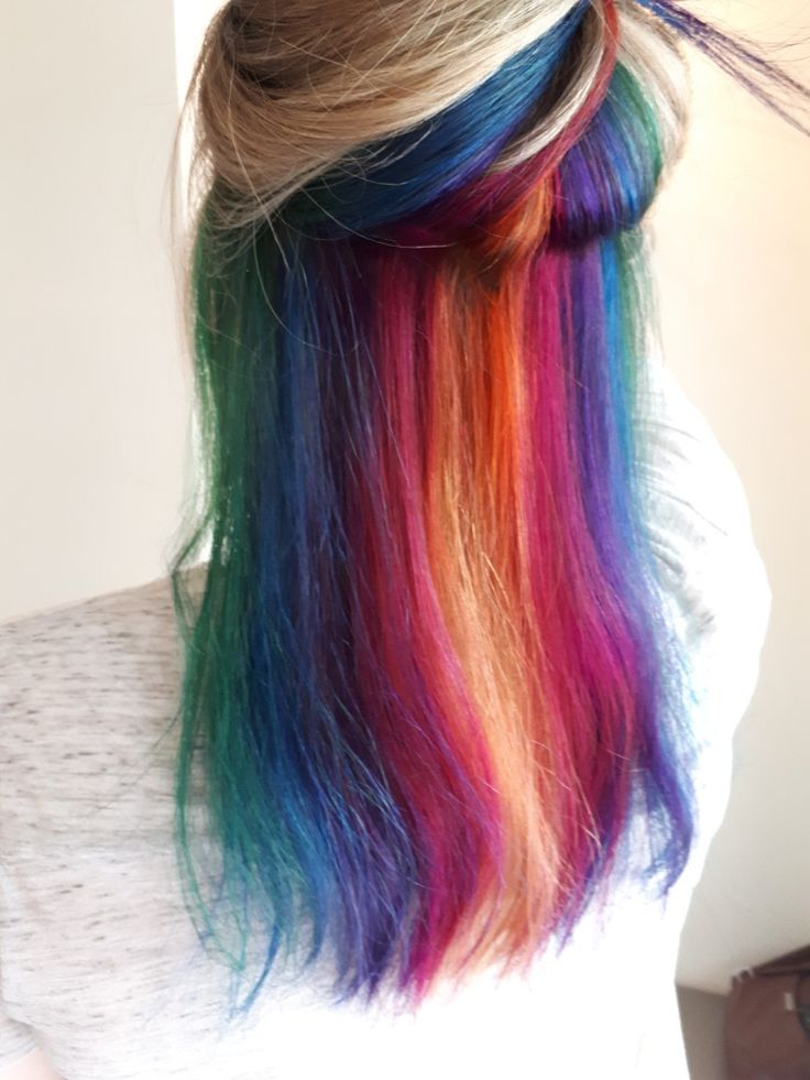Creating this awesome rainbow hair colour not long ago and it was so much fun! 😊🌈